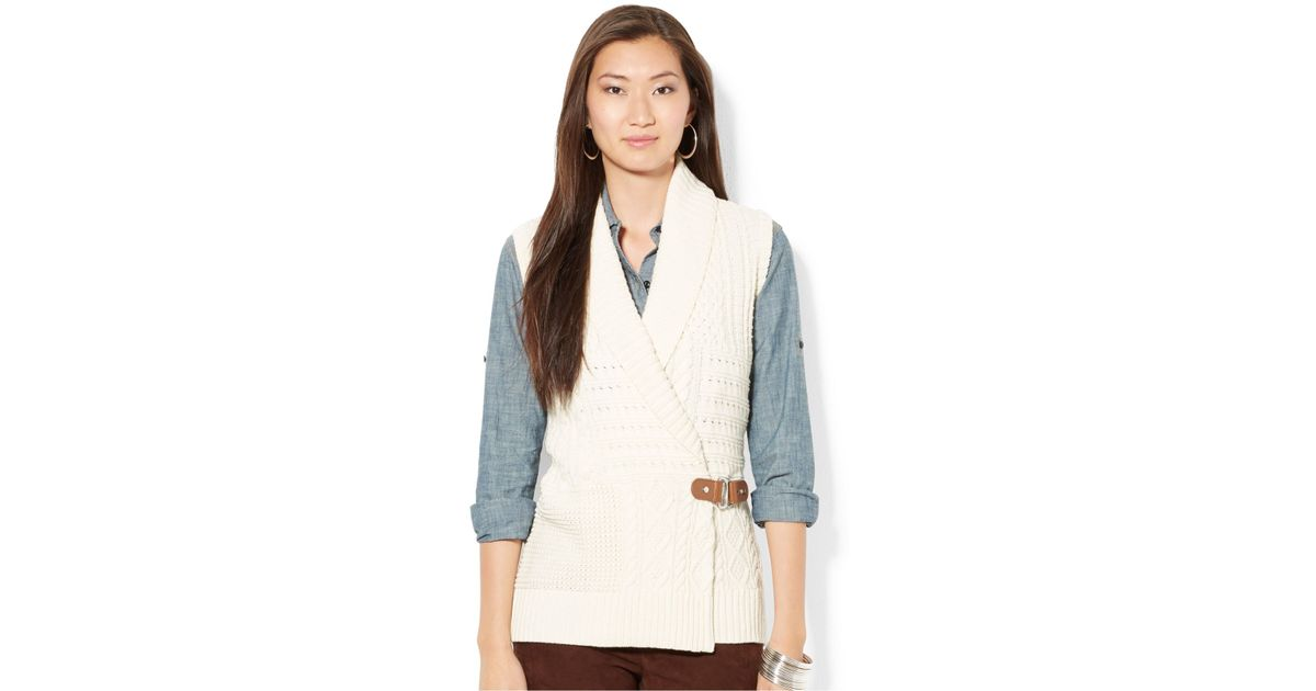 Lauren by ralph lauren Petite Cable-knit Wrap Sweater Vest in ...