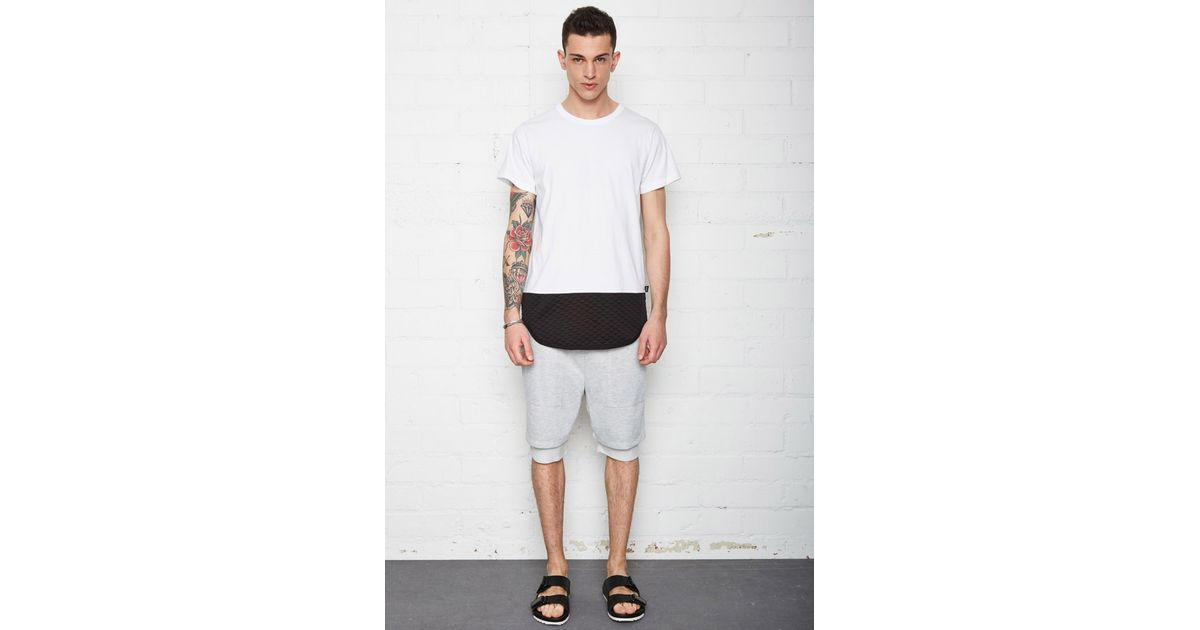 bb271c09 Forever 21 Eptm. Longline Quilted Panel Tee in White for Men - Lyst