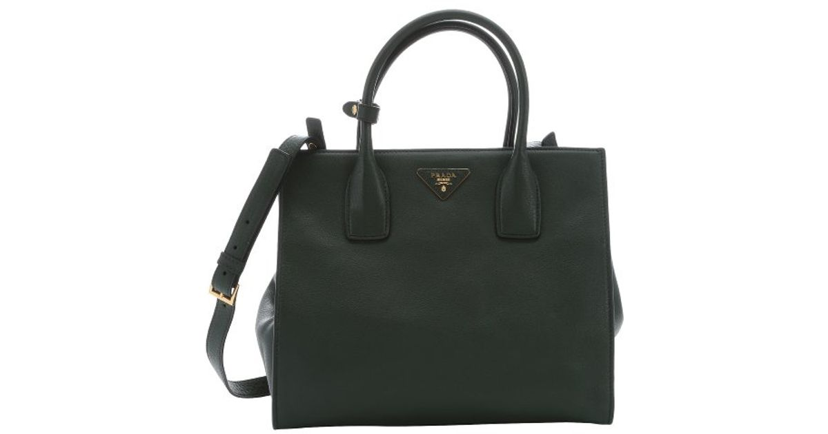 a1453ebee6 ... low price lyst prada forest green calfskin convertible tote in green  172e1 c8dff