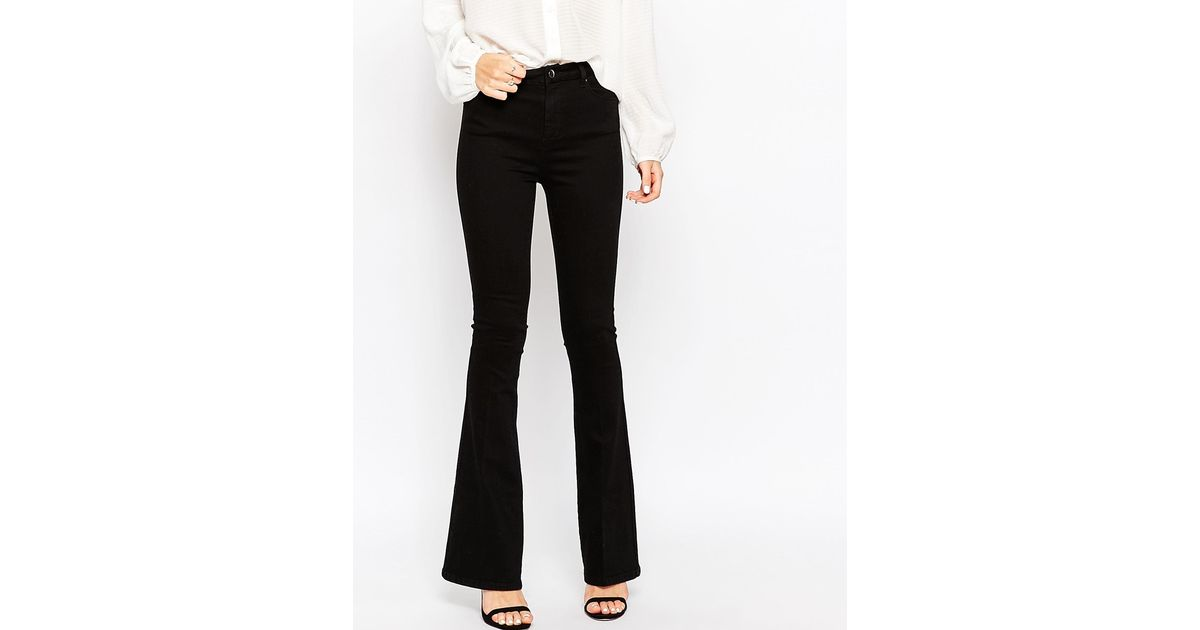 a5d6346deb5 Lyst - ASOS Bell Flare Jeans In Clean Black With Pressed Crease in Black