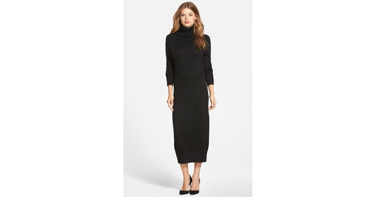 Lyst Vince Camuto Turtleneck Sweater Knit Maxi Dress In Black