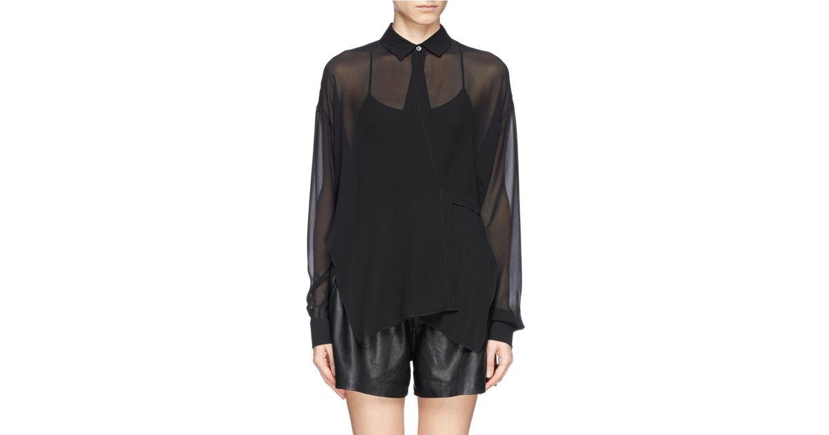 a27b2770490c64 Lyst - T By Alexander Wang Sheer Silk Crepe Wrap Blouse in Black