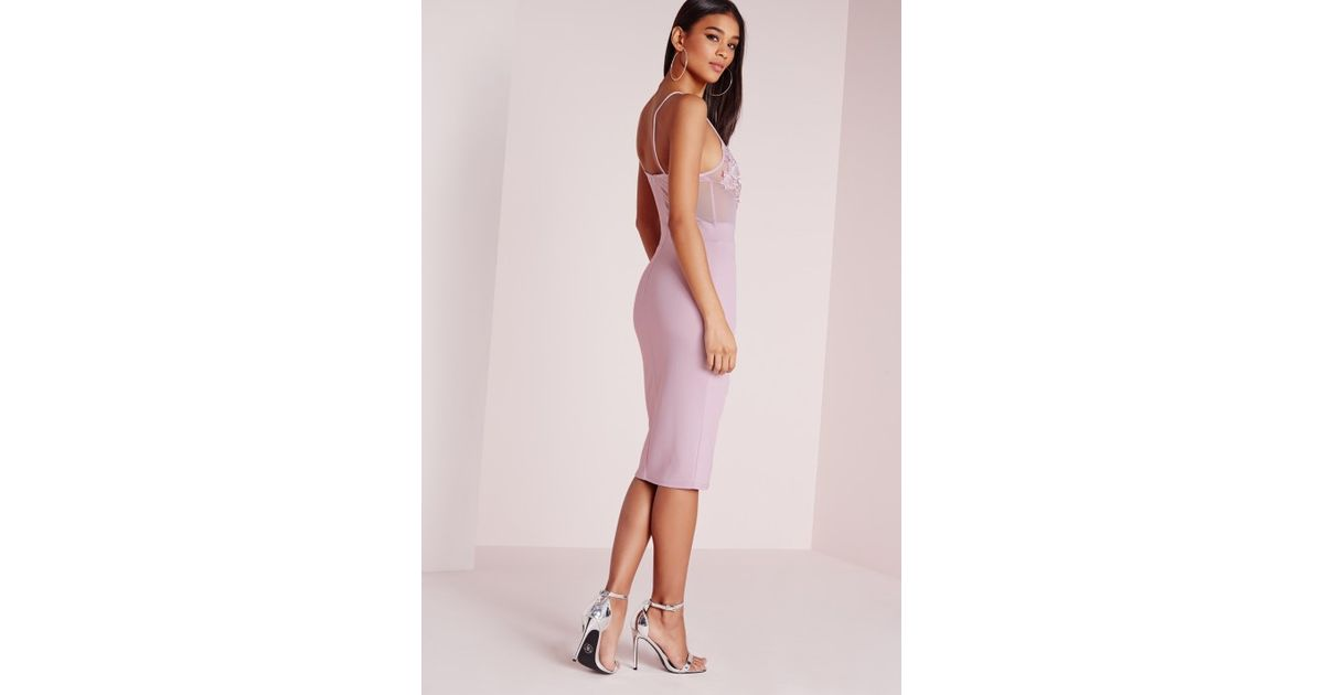 Lyst - Missguided Embroidered Bust Detail Bodycon Dress Lilac in Purple 31000dfa4