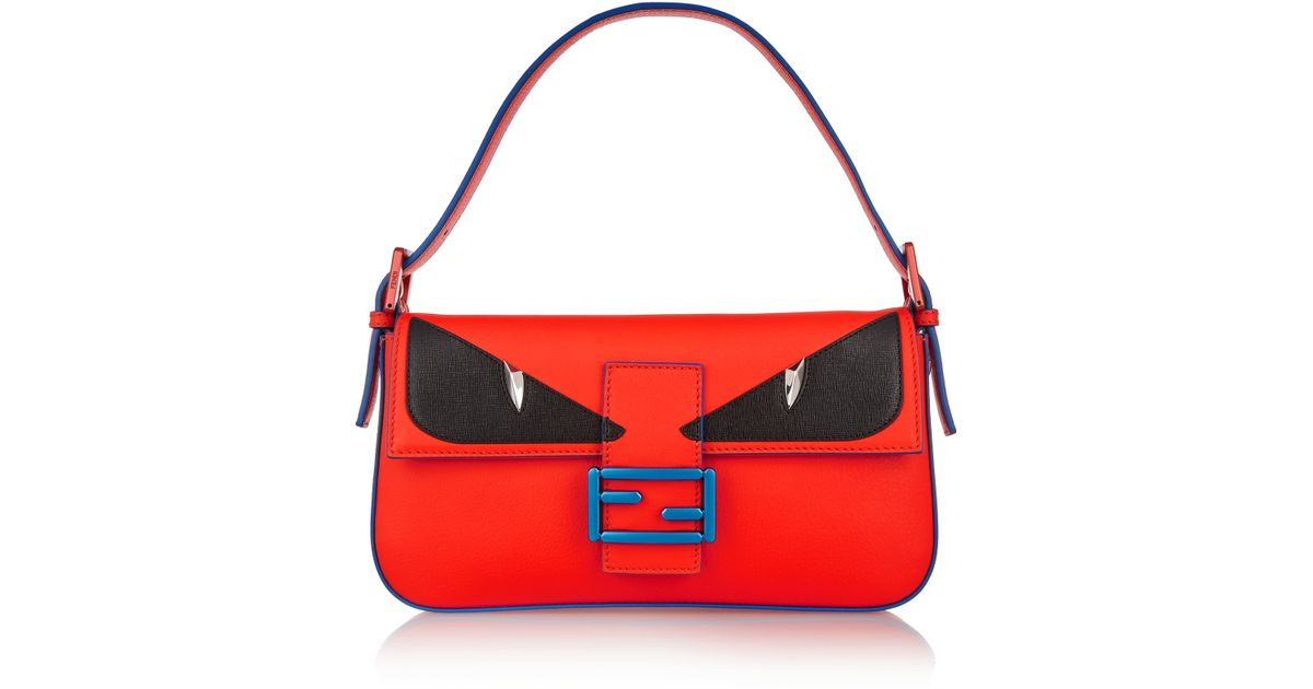 418235c0da ... store lyst fendi bag bugs baguette leather shoulder bag in orange fe842  dea3d