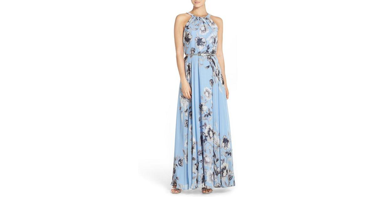 f3ad5629f1c39 Eliza J Belted Chiffon Maxi Dress in Blue - Lyst