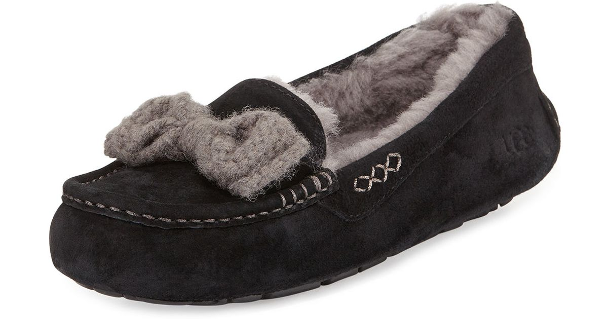 Ugg Ansley Knitted Bow Suede Slippers In Black Lyst