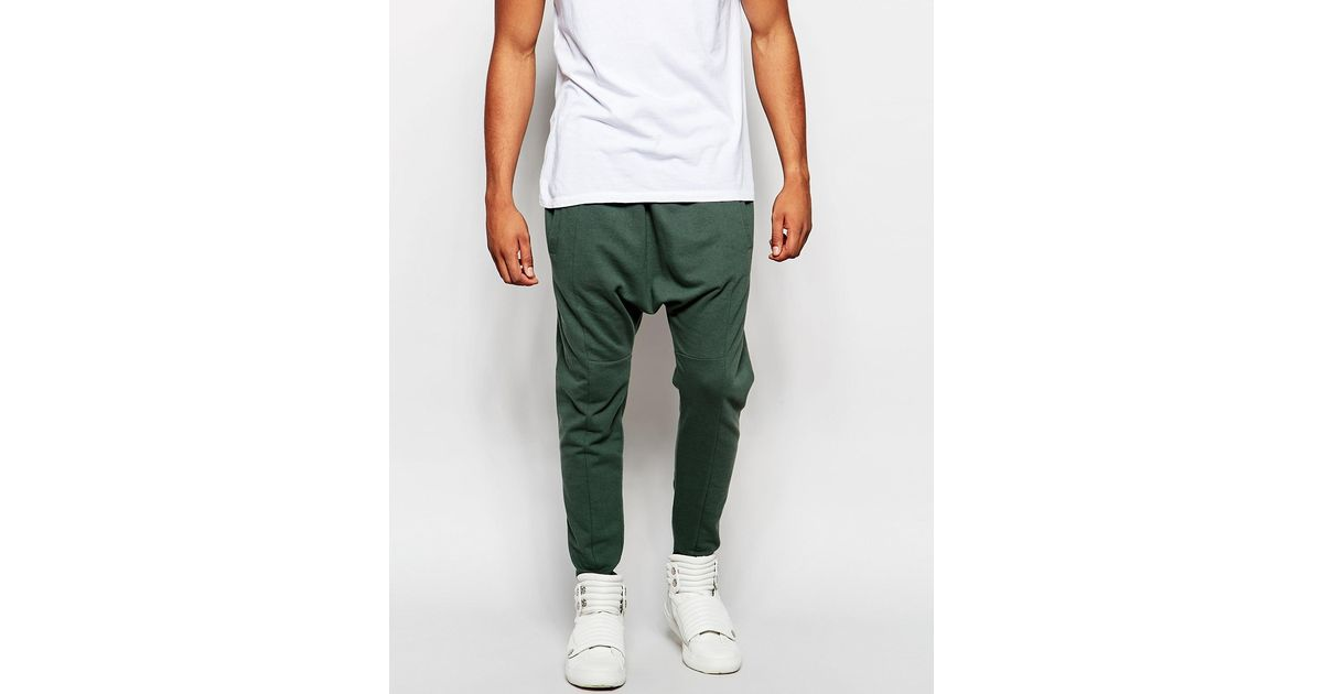 Perfect Asos Drop Crotch Joggers In Green For Men (Thyme) | Lyst