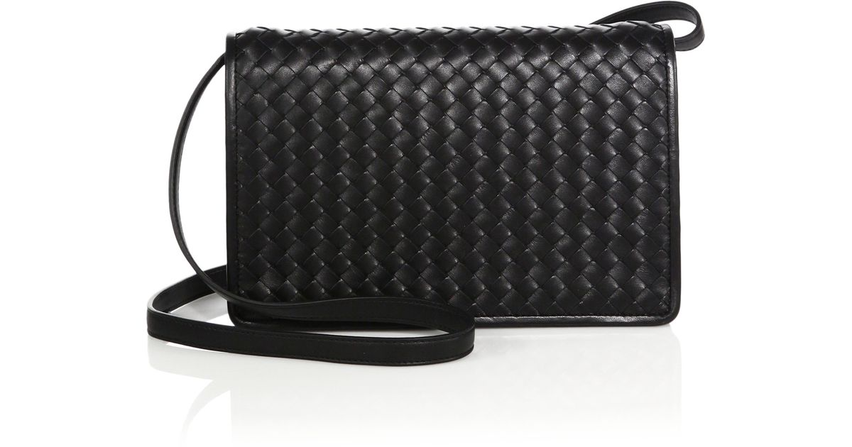 Lyst - Bottega Veneta Montebello Intrecciato Leather Flap Crossbody Bag in  Black 4647fe59e64fa