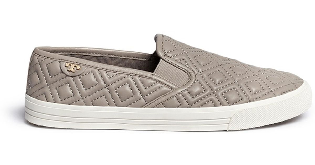 7390b358345d Lyst - Tory Burch  jesse  Quilted Leather Slip-ons in Gray