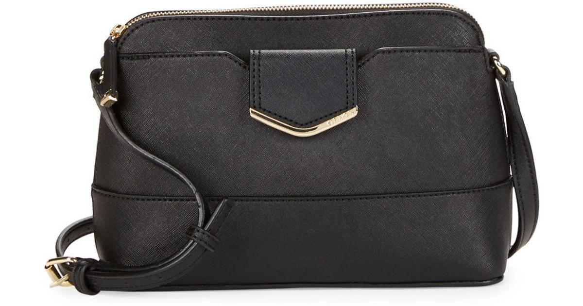 Calvin Klein Leather Crossbody Bag In Metallic | Lyst