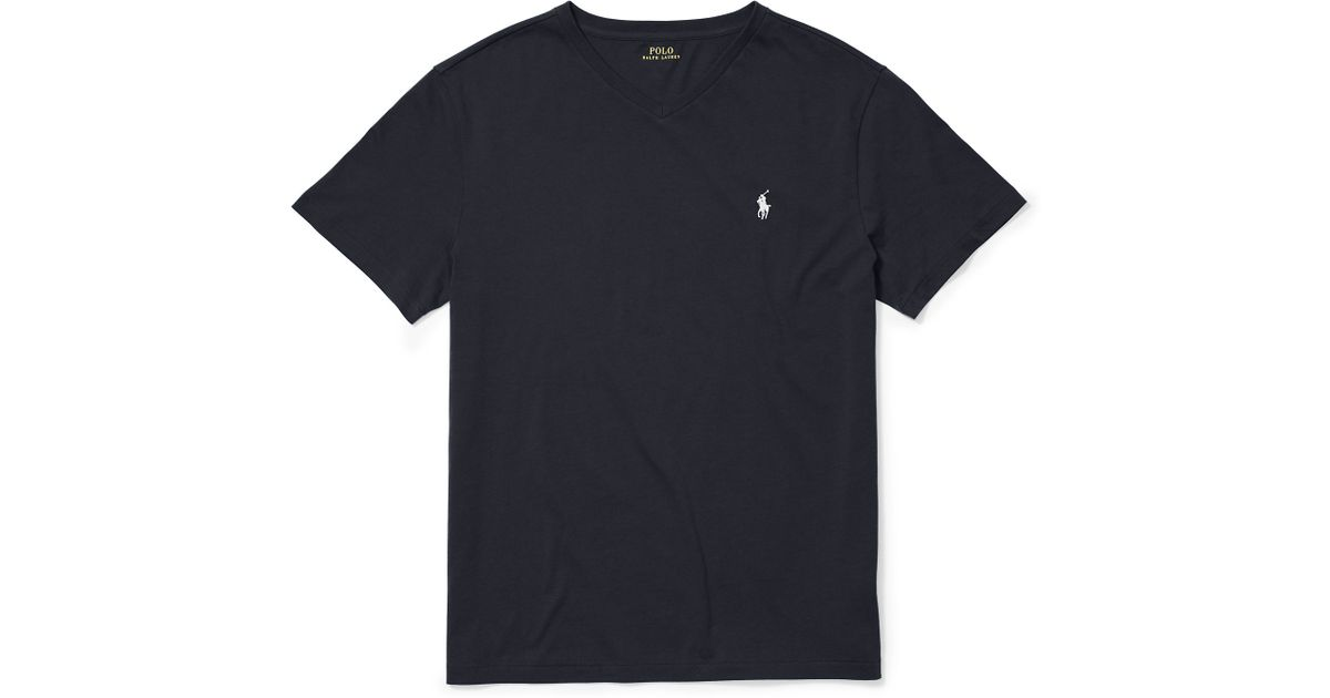 fd5aa33d ... low cost lyst polo ralph lauren cotton jersey v neck t shirt in black  for men