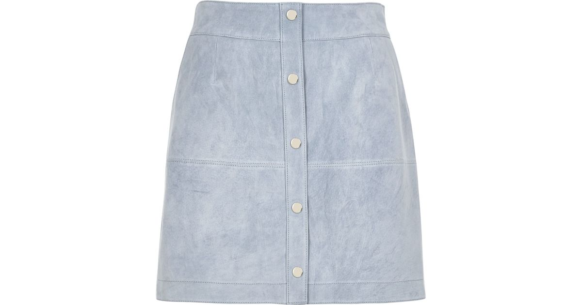 d887611f56066e River Island Light Blue Suede Button-up A-line Skirt in Blue - Lyst