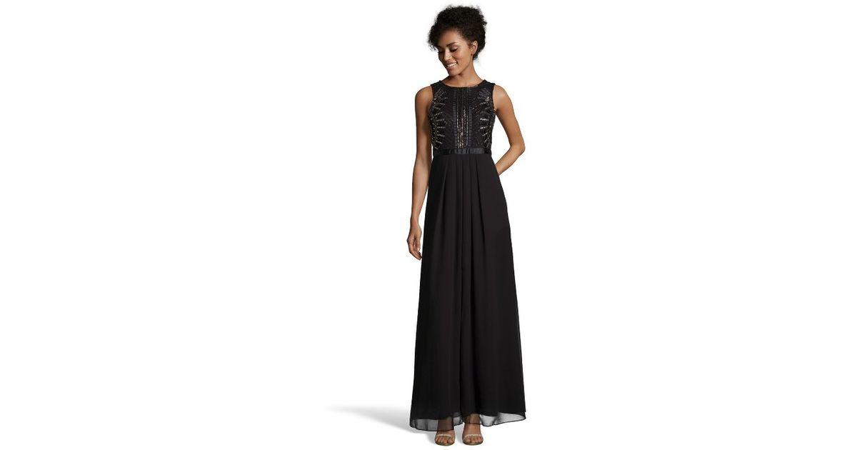Lyst - Aidan Mattox Black Beaded Georgette Sleeveless Evening Gown ...