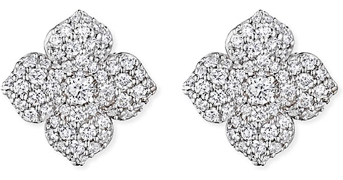 Lyst Penny Preville Large Pav 233 Diamond Flower Earrings In Metallic