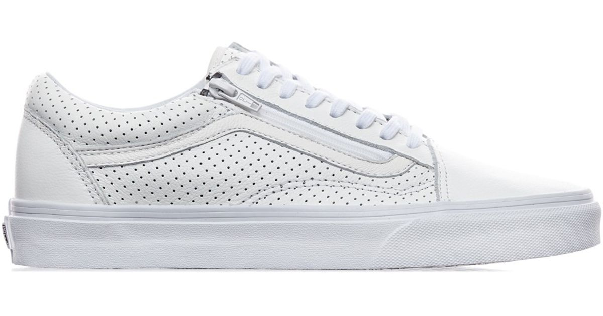 a95b35df979 Lyst - Vans Old Skool Zip Perforated Leather Sneakers in White for Men
