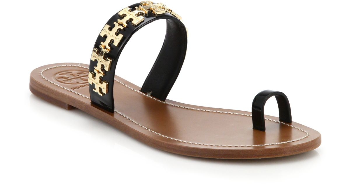 ab6ff7696 Lyst - Tory Burch Val Metal Logo   Leather Toe-ring Sandals in Metallic
