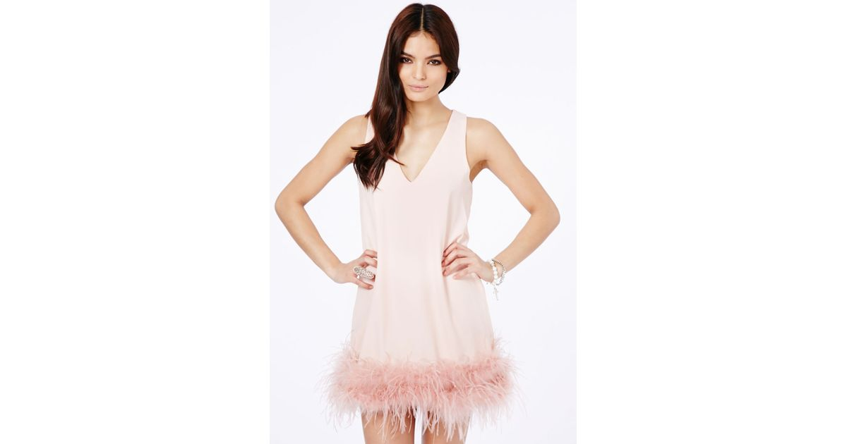 Lyst - Missguided Claral Prom Dress With Feathered Hem Detail In ...