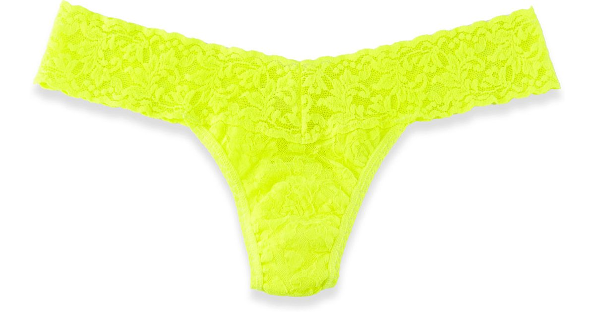 Lyst - Hanky Panky Lowrise Stretch Lace Thong Neon Yellow in Yellow 96a395742