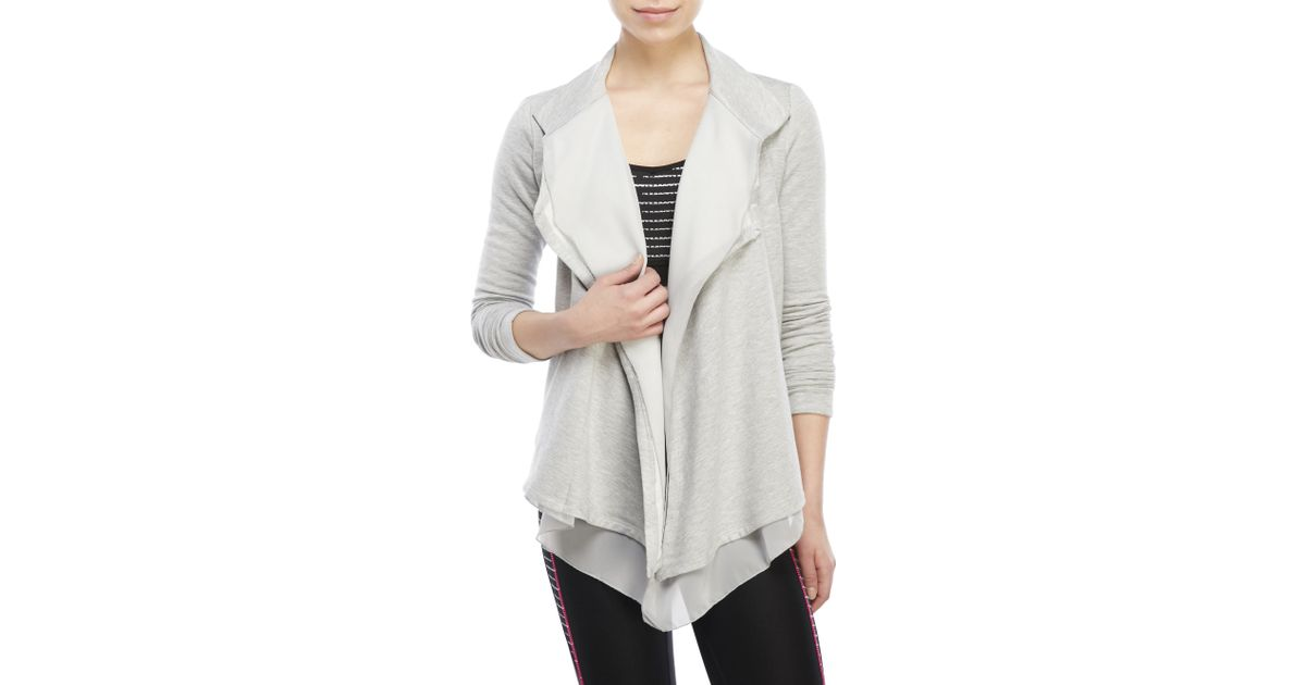 90 degree by reflex Chiffon-Front Open Cardigan in Gray | Lyst