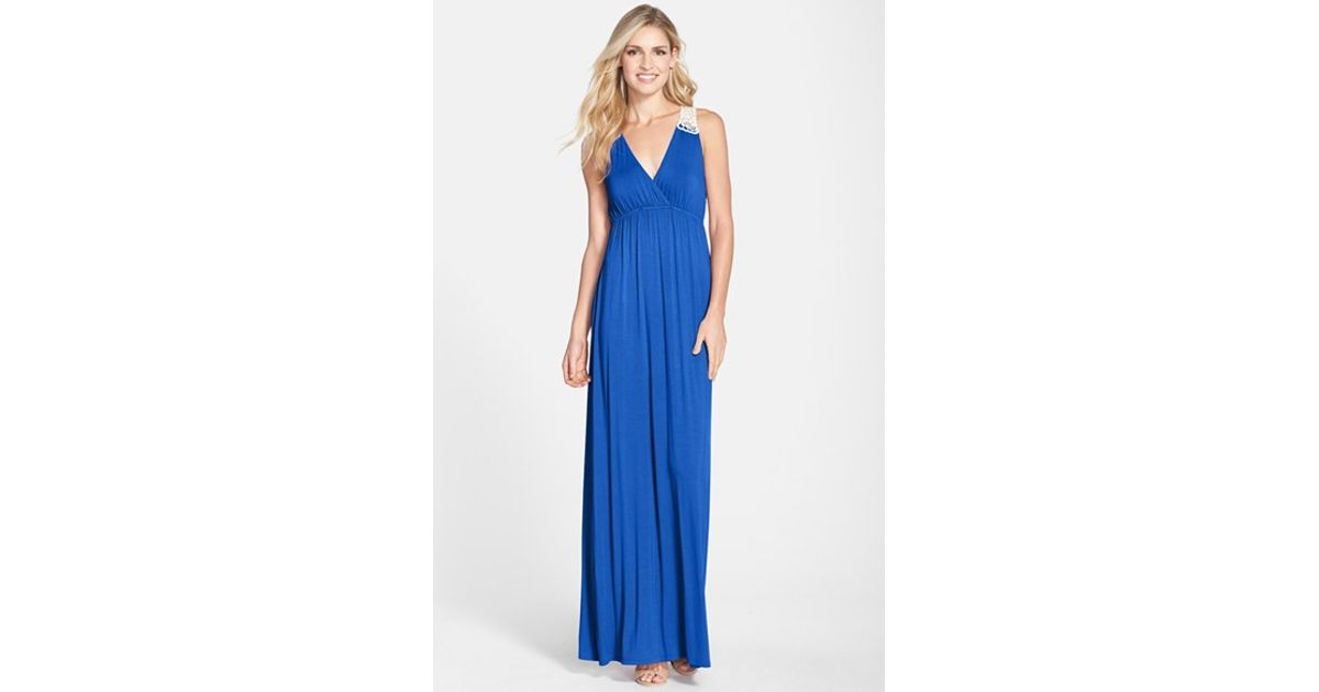 39a9010af5f97 Felicity & Coco Crochet Back Jersey Maxi Dress in Blue - Lyst