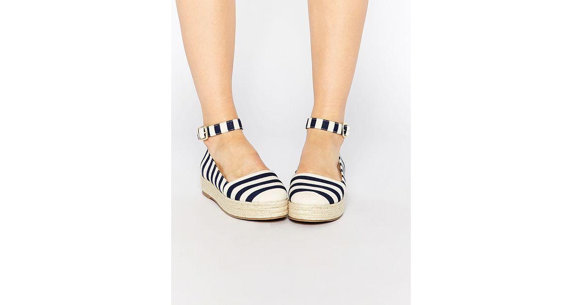 93126ab63dd28c Lyst - London Rebel Ankle Strap Flatform Espadrilles in Blue