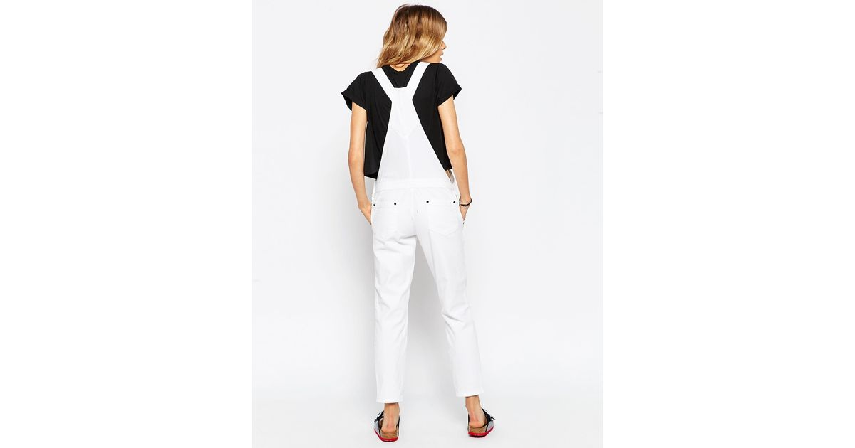 1eab6d4169d4 Lyst - ASOS Petite 90s Style Dungarees In White in White