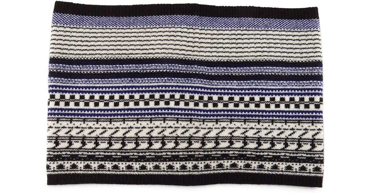 Neiman marcus Cashmere Fairisle Knit Snood in Blue | Lyst