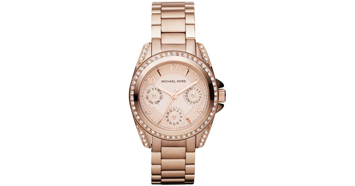 b087455c8574 Lyst - Michael Kors Women S Chronograph Mini Blair Rose Gold-Tone Stainless  Steel Bracelet Watch 33Mm Mk5613 in Metallic