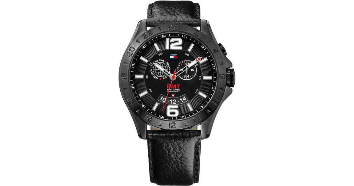 927877c927 Tommy Hilfiger Men'S Gmt Black Leather Strap Watch 46Mm 1790972 in Black  for Men - Lyst