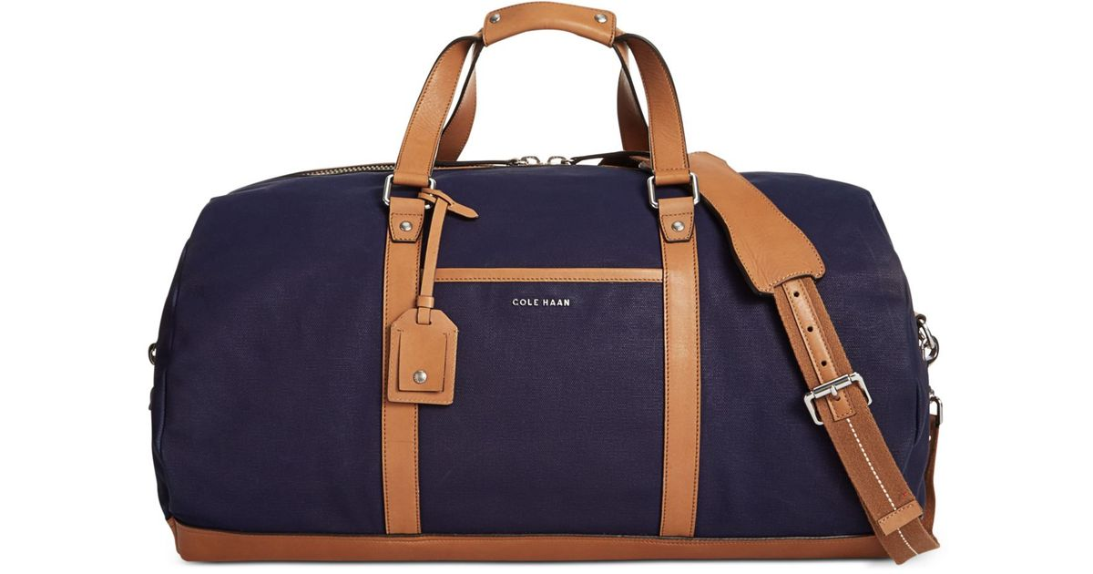 Lyst - Cole Haan Waxed Canvas Duffel in Blue for Men 5987434985138