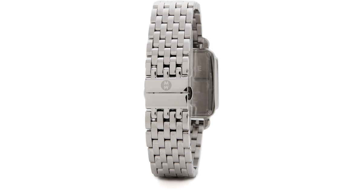 Lyst Michele Deco Diamond Dial Watch Bracelet Set Silver In Metallic