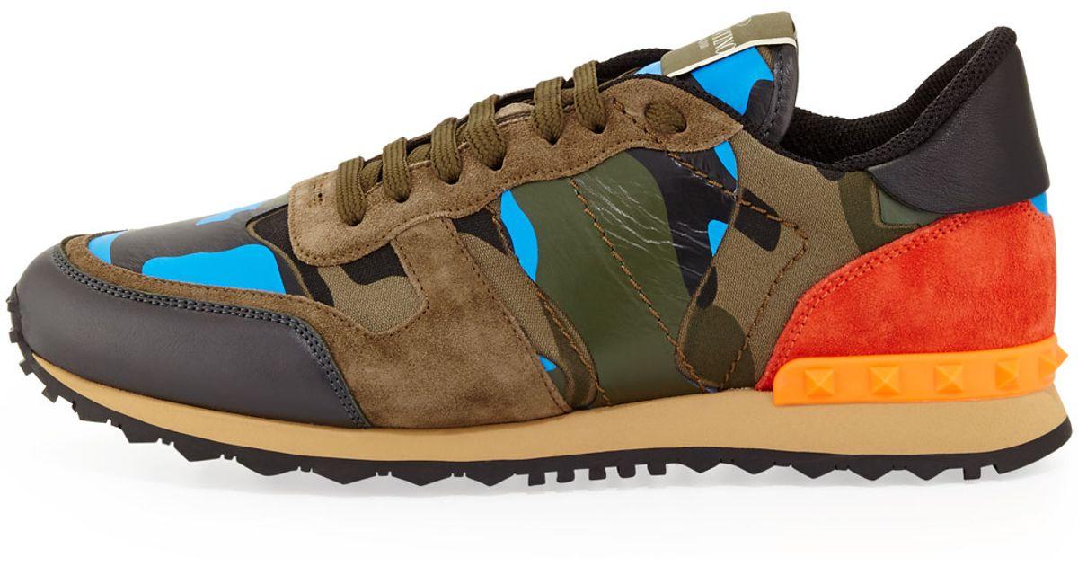 45e8b6dedbfc Lyst - Valentino Mens Rockrunner Camo Sneaker for Men