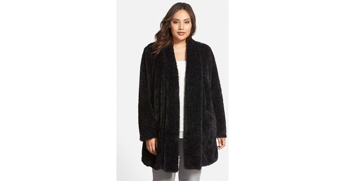 sale retailer wholesale price uk store Kenneth Cole Black 'Teddy Bear' Faux Fur Clutch Coat
