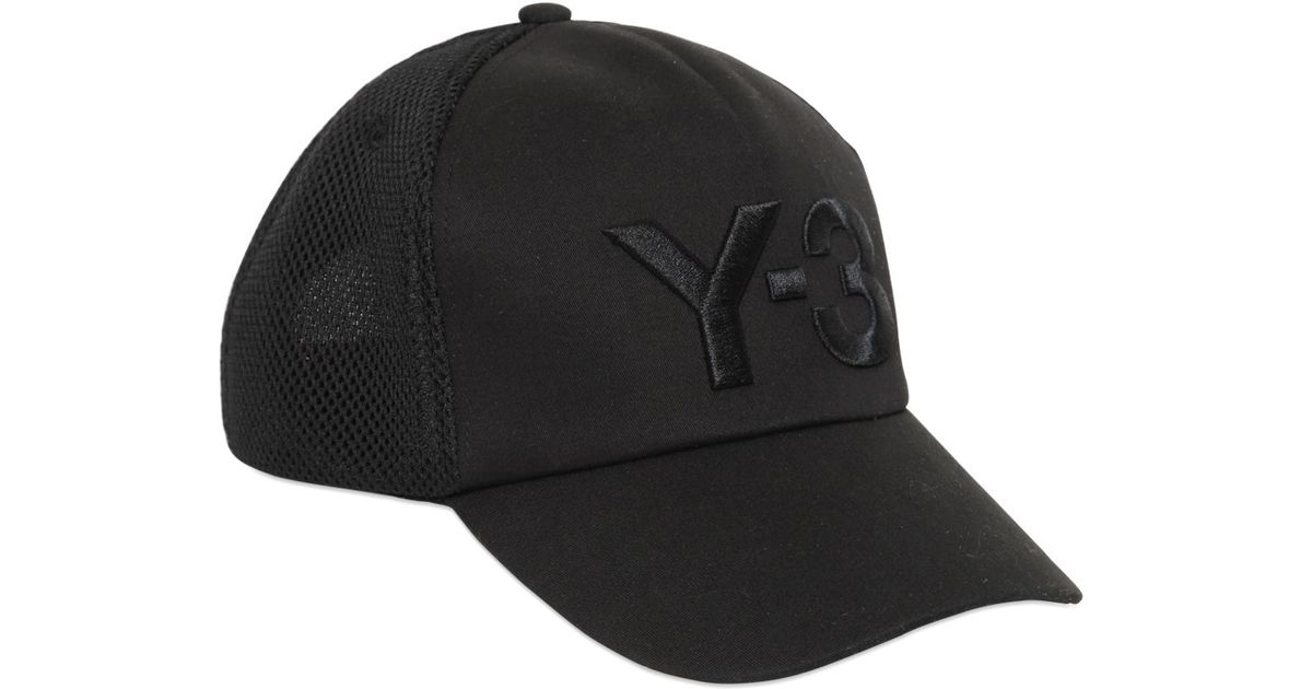 Lyst - Y-3 Logo Mesh   Nylon Trucker Hat in Black for Men 7cd7540e853