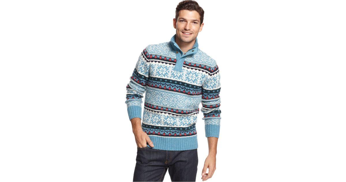 Lyst - Tommy hilfiger Rockport Fair Isle Half-Zip Sweater in Blue ...