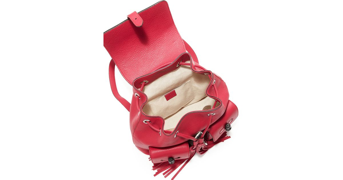 5290b39d1 Gucci Bamboo Sac Leather Backpack in Red - Lyst