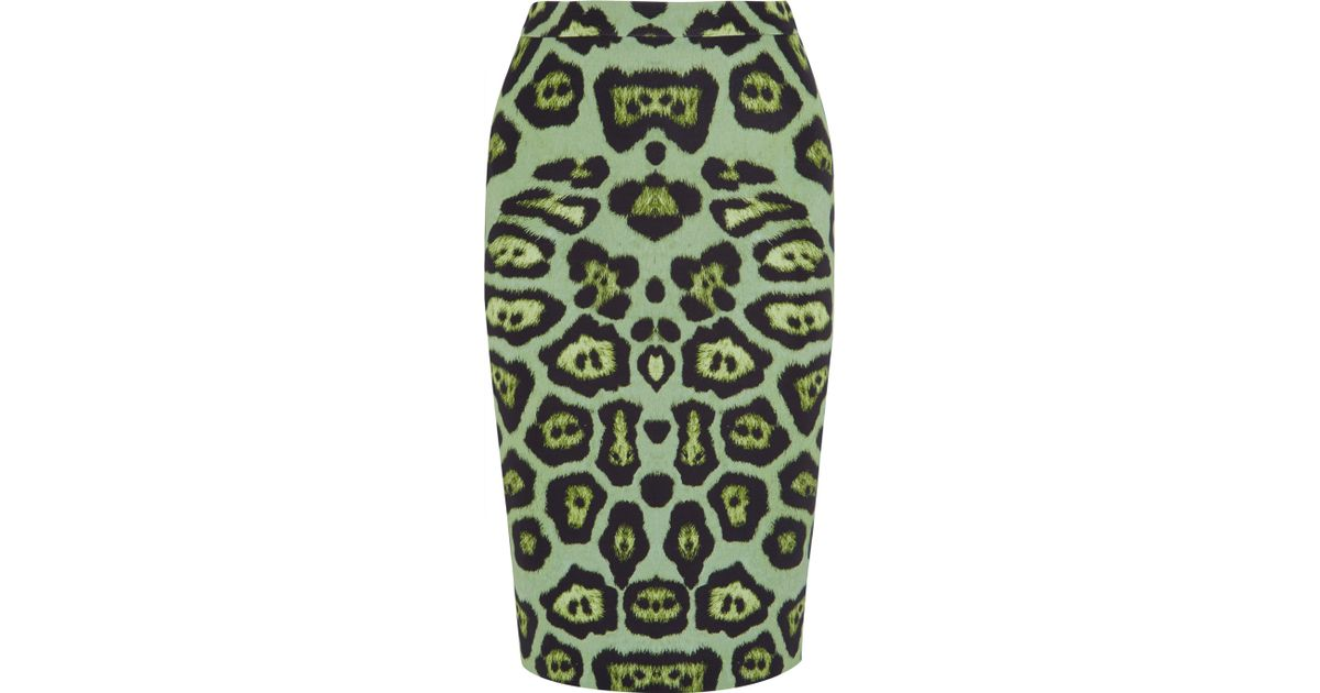 0ded3922df Lyst - Givenchy Skirt In Green Leopard-print Stretch-jersey
