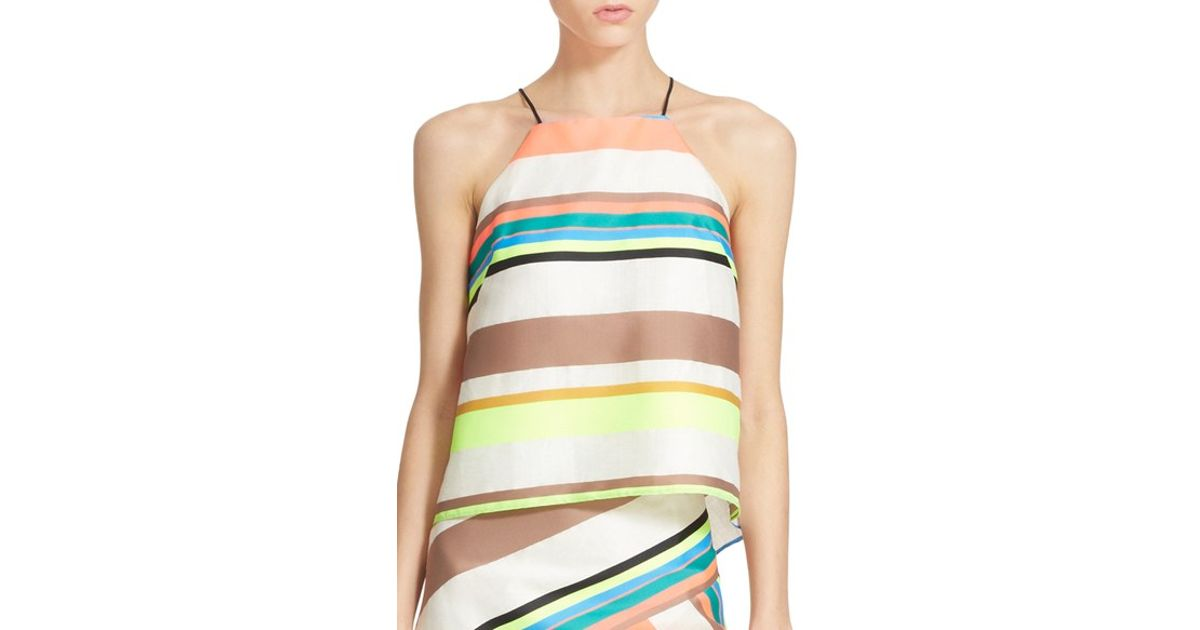 f10bd7df603cde Lyst - MILLY Fluorescent Stripe Camisole in White