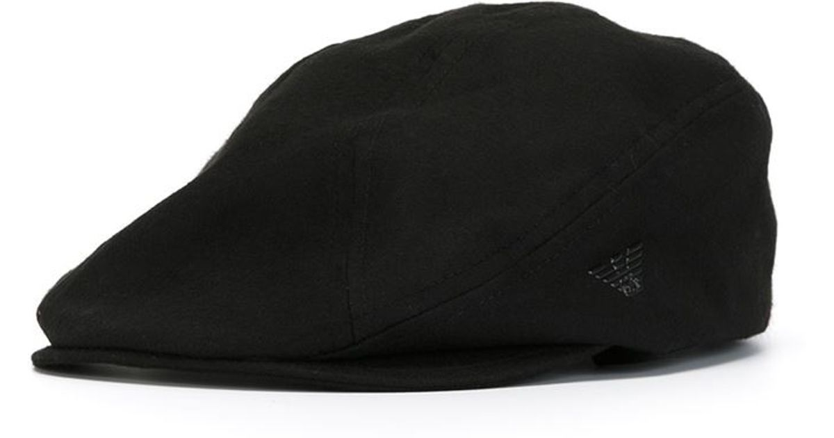 e74c257642d Emporio Armani Logo Detail Flat Cap in Black for Men - Lyst
