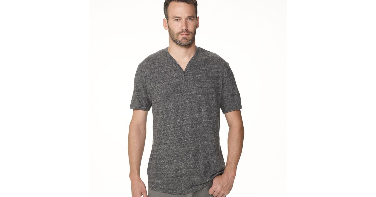 James perse revival jersey v neck henley in gray for men for James perse henley shirt