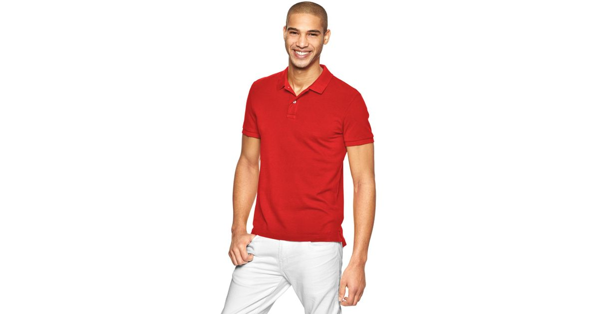 af947a89 Lyst - Gap Modern Pique Polo in Red for Men