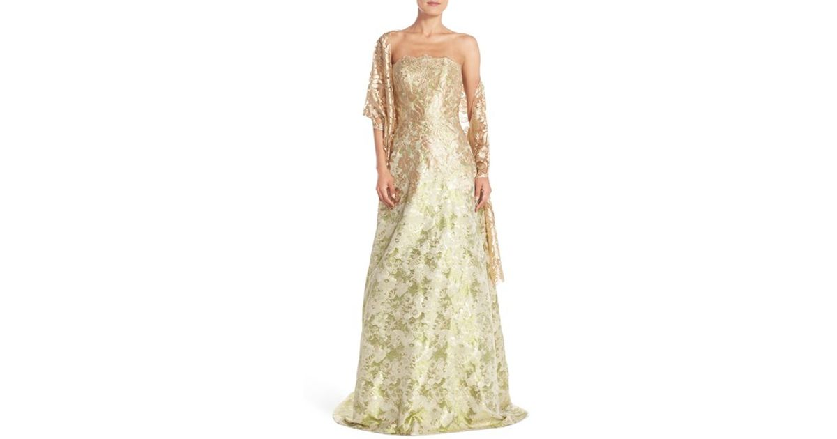 Lyst - Theia Metallic Jacquard Ballgown & Shawl in Metallic