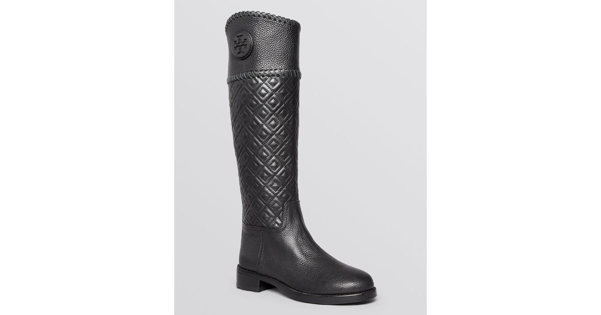 e11c70cb325 Lyst - Tory Burch Tall Flat Riding Boots - Marion Quilted in Black