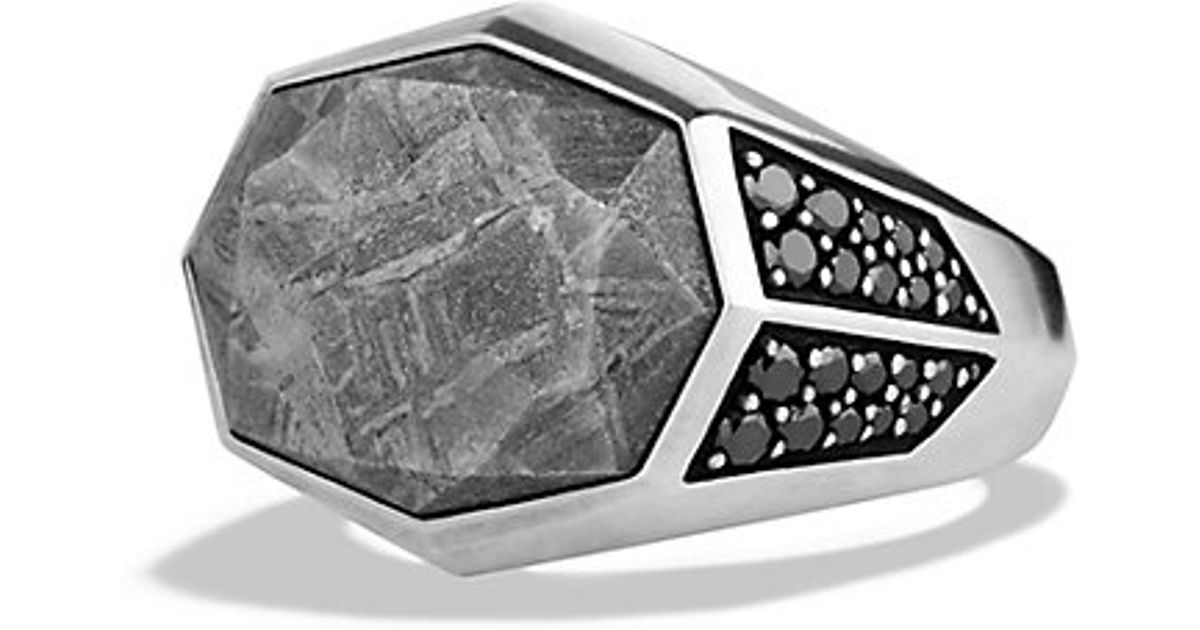 David Yurman Meteorite Signet Ring With Black Diamonds In