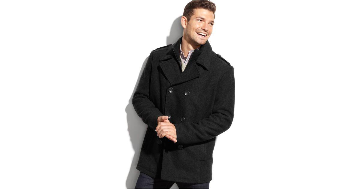 0a38ca242fb Lyst - Kenneth Cole Wool-blend Knit-bib Military Pea Coat in Black for Men