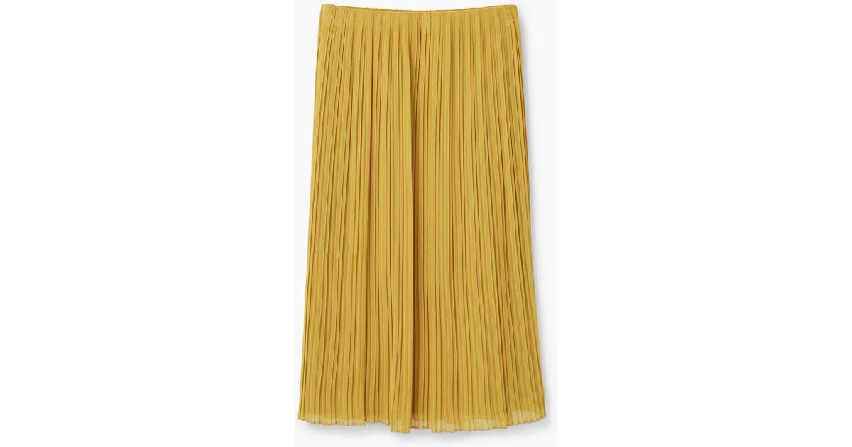 mango pleated midi skirt in yellow lyst