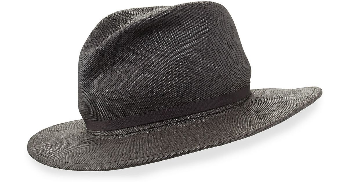 3e4f9f6e96440e Lyst - Yestadt Millinery Nomad Packable Straw Fedora Hat in Gray