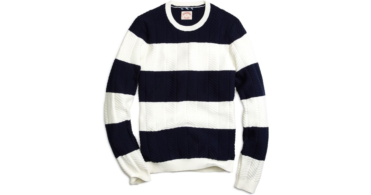 Brooks brothers Bold Stripe Crewneck Sweater in Blue for Men | Lyst