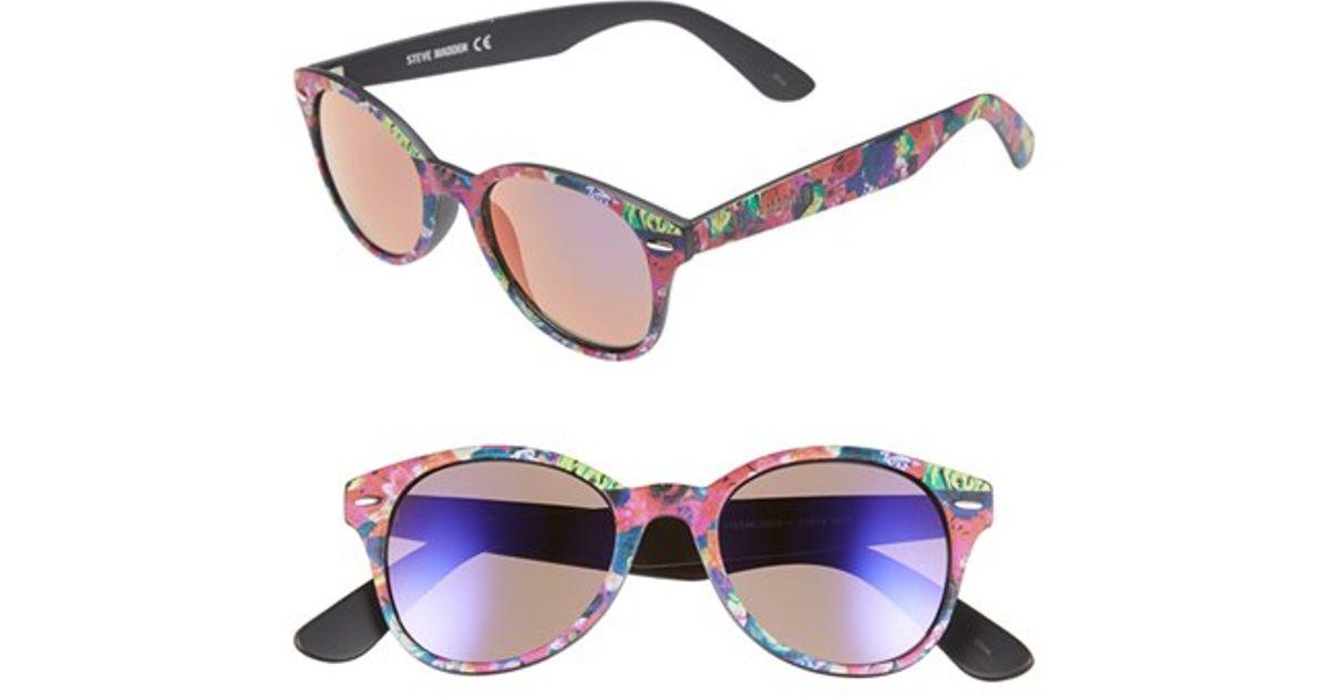 Lyst - Steve Madden 50mm Printed Frame Sunglasses - Navy in Blue