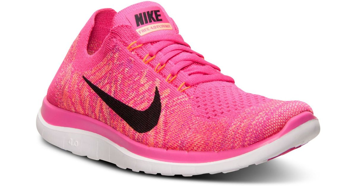 8ebd3bb4329af Lyst - Nike Women s Free Flyknit 4.0 Running Sneakers From Finish Line in  Pink